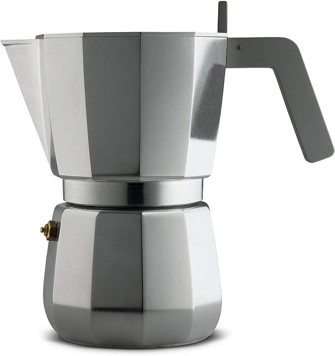 Alessi Moka DC06/9 FM - Cafetera para café exprés de diseño en aluminio fundido mango y pomo en PA, 9 tazas gris: Amazon.es: Hogar