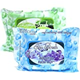 Bonjour Paris Refreshing Wet Facial Wipes, Ice and Lime, 25 Pieces (Pack of 2)
