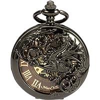 ManChDa Orologio da taschino meccanico Dream Dragon Skeleton Bronzo nero/quadrante nero/argento Cassa doppia con catena + confezione regalo
