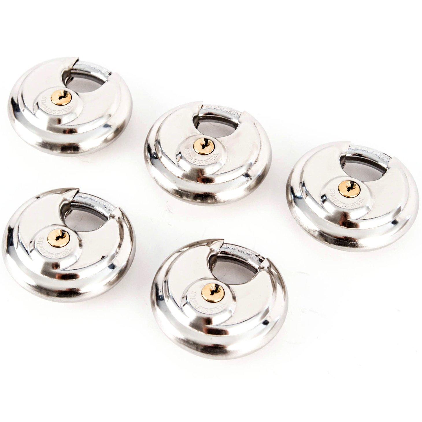 5 Stainless Steel Armor Disc Padlocks Trailer / Self Storage Locks Keyed Alike