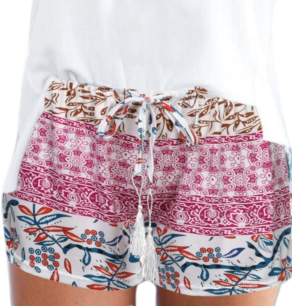 LuckyGirls/_Hose Damen Jogginghose,LuckyGirls Damen Hotpants Sommer b/öhmische Print Casual Shorts High Taille Strand Kurze Hosen Short Pants