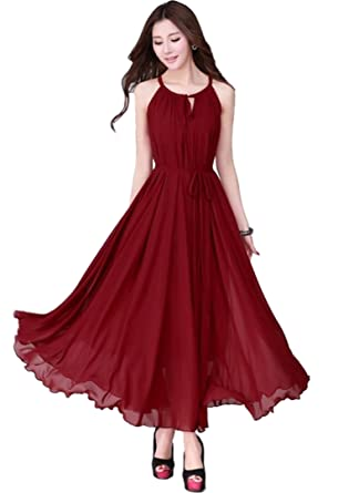 283dec82c5 Medeshe Brief Elegant Burgundy Red Chiffon Boho Maxi Dress at Amazon  Women's Clothing store: