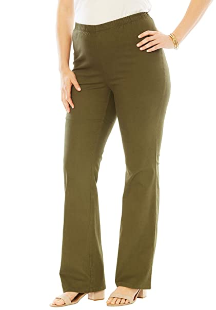 1d2532ad4c0 Roamans Women s Plus Size Petite Bootcut Pull-On Stretch Jean - Dark Olive  Green