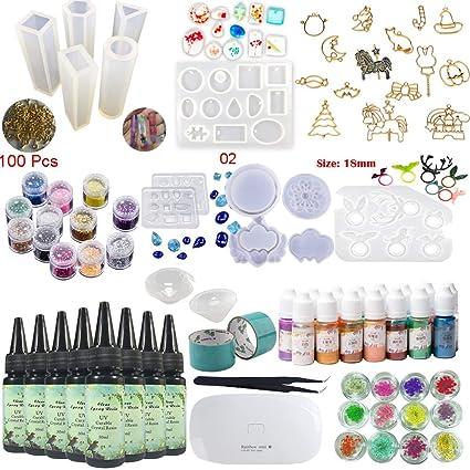 8X 30ML Resina 1 Lámpara Pinzas 24 Decoración 13 Molde de silicona 100 Anillos 15 Pigmento