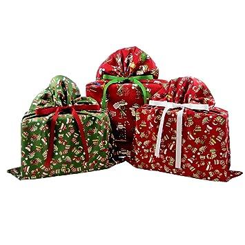 Amazon.com: Bundle of Three Reusable Christmas Gift Bags: Santa\'s ...