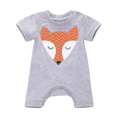 458ff0d12781 Amazon.com  MIOIM Newborn Baby Boys Girls Cute Fox Romper Bodysuit ...