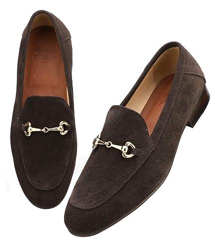8fb47849d87 Firenze Atelier Men s Handmade Suede Leather Bit Slip-on Loafers Penny  Loafers (8.5 D