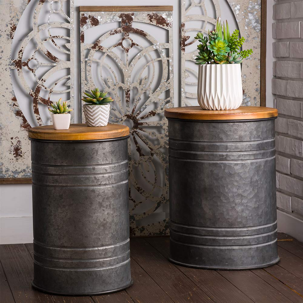 Glitzhome Rustic Storage Bins Metal Stool Ottoman Seat with Round Wood Lid Set of 2 by Glitzhome