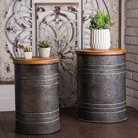 Swell Glitzhome Rustic Storage Bins Metal Stool Ottoman Seat With Round Wood Lid Set Of 2 Inzonedesignstudio Interior Chair Design Inzonedesignstudiocom