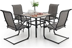 MFSTUDIO 5 Piece Metal Patio Armrest Dining Rocker Chairs and Larger Square Table Set, 37