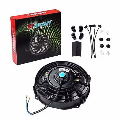 "Universal Slim Fan Push Pull Electric Radiator Cooling 12V 80W Mount Kit (Black, 7""): Automotive"