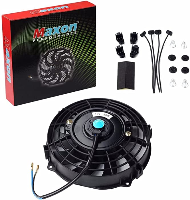 "Universal Slim Fan Push Pull Electric Radiator Cooling 12V 80W Mount Kit (Black, 7"")"