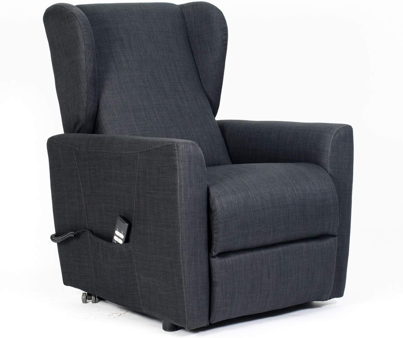 SIME - sillón reclinable eléctrico con 2 Motores Independientes Venta. Shed. Sillón Relax Tercera Edad no válidos Lulu-2M-Blue Night TEBLU CE Médica Tela