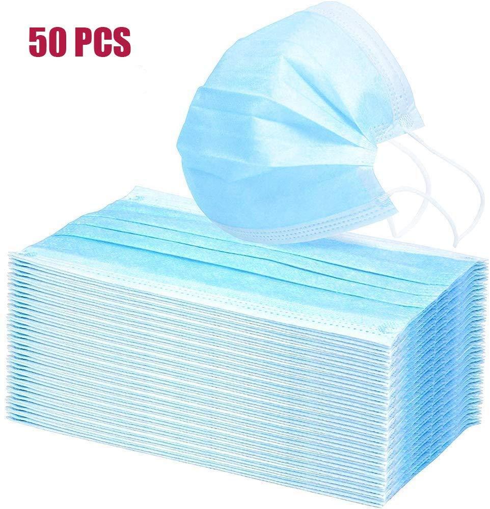 Protección quirúrgica para la cara desechable, protección contra el polvo, color azul 1-50 unidades, talla única, azul, 1
