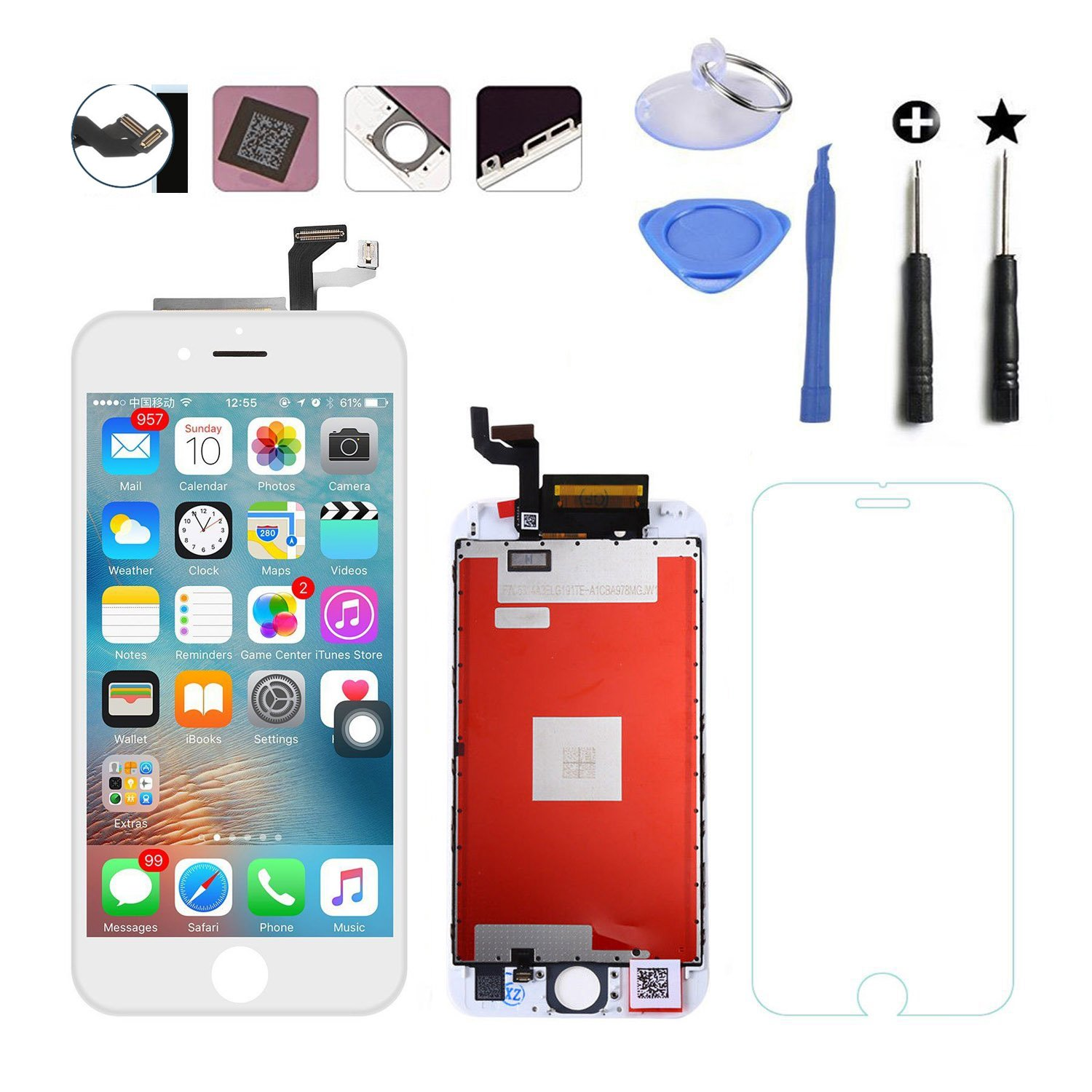 LCD Digitizer Replacement Screen & LCD Display Touch Screen and Digitizer Assembly for iPhone 6S Plus 5.5 inch White