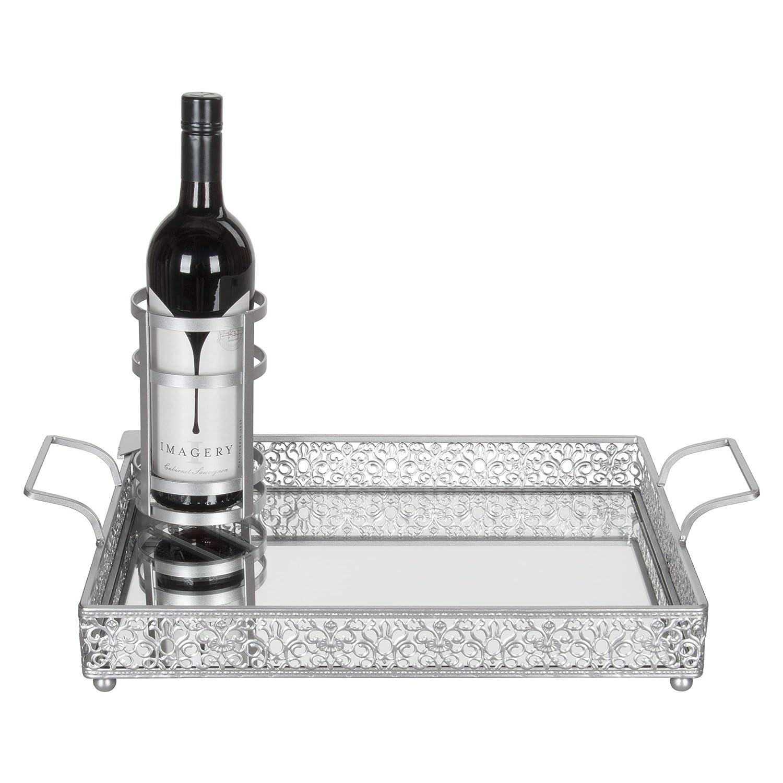 Amalfi Décor Victoria Silver Mirror Serving Tray, Rectangular Metal Vanity Food Decorative Display Platter with Wine Bottle Holder