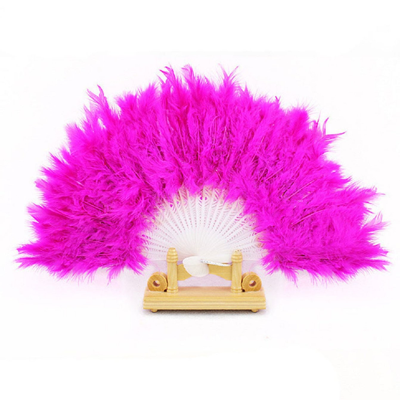 Sannysis Dance Props Hand Goose Feather Folding Fan Wedding (Hot Pink)