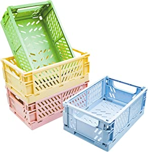 POTTIIS 4-Pack Baskets Plastic for Shelf Home Kitchen Storage Bin Organizer, Stacking Folding Storage Baskets for Bedroom Bathroom Office- 9.8 x 6.5 x 3.8