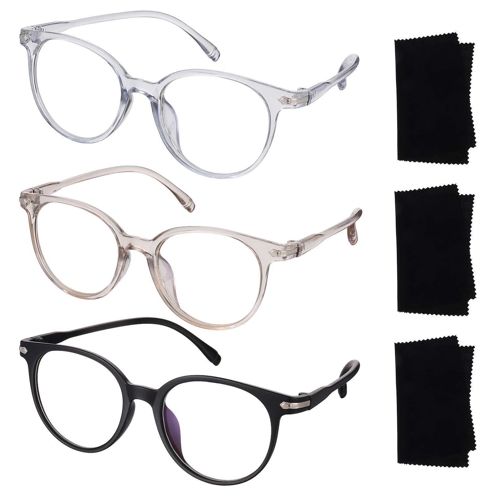 Phoetya 3 Pack Blue Light Blocking Glasses Frame Clear Lens Anti Eyestrain Glasses Gaming Eyewear Anti Eyestrain Eyeglasses for Women or Men
