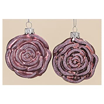 Christbaumkugeln Rose.2 Stk Christbaumkugeln Rose Glaskugeln Rosenform Rosa