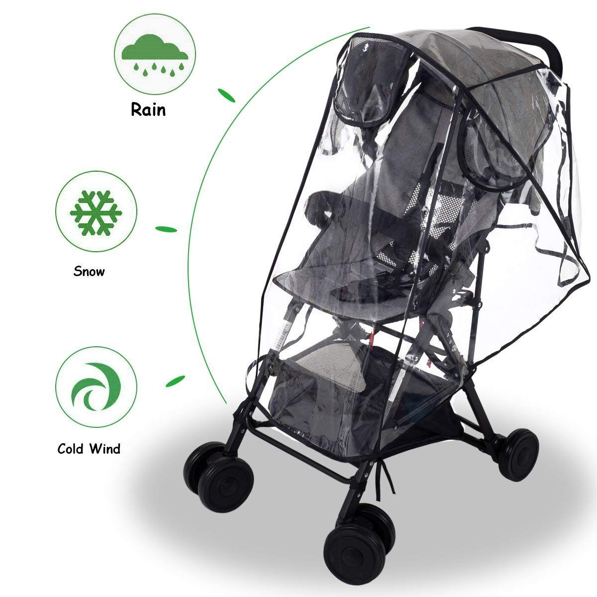 Wemk Stroller Rain Cover Universal, Weather Shield for Stroller Umbrella Pushchair, Ventilation EVA Material Non-Toxic odorless, Baby Care; Waterproof Wind Snowing Weather Shield (Medium) by Wemk
