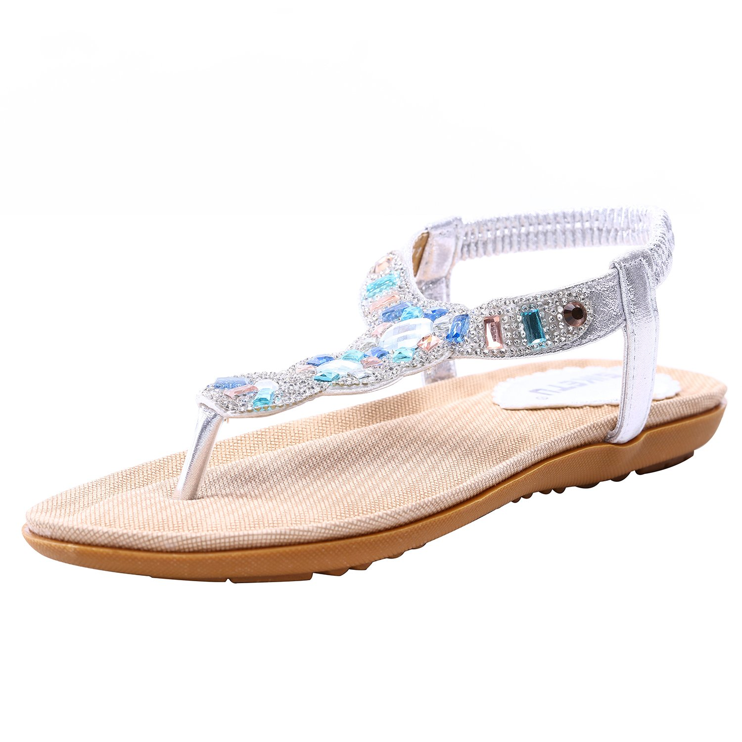 Womens Platform Wedge Sandals Bohemian Beaded Ethnic Style Shoes Thong Sandals (Shining Silver, 9 B(M) US/40EU)