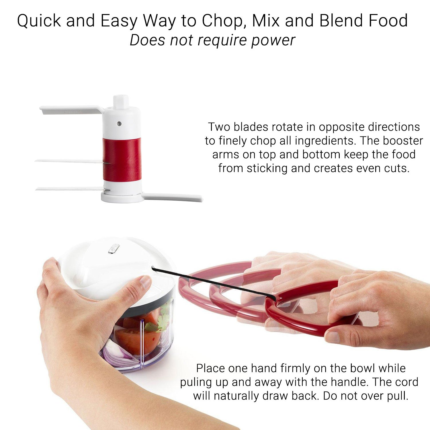 zyliss easy pull food chopper and manual food