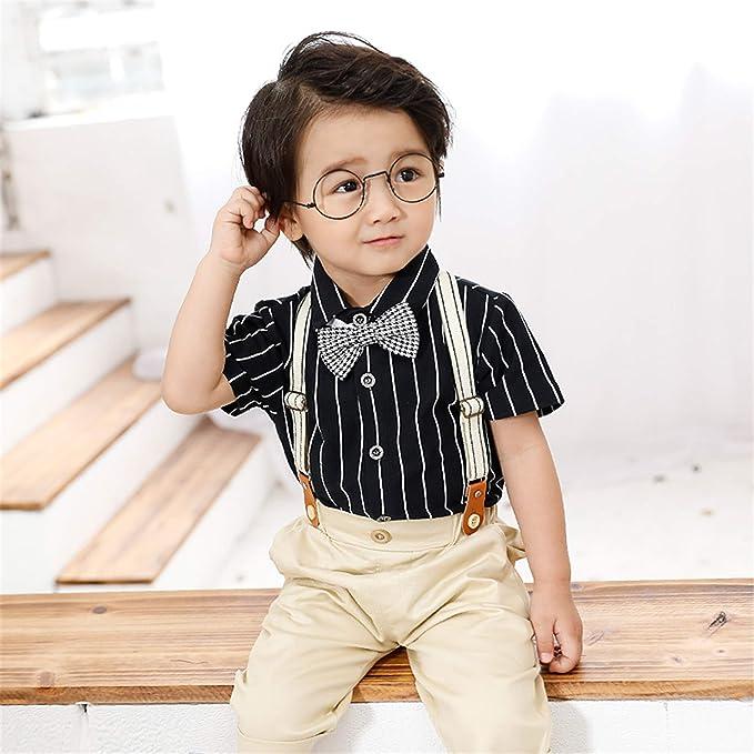 Bonda. Mono para niños, Camisa Negra para niños + Babero + Pajarita + Conjunto de Vestido con Tirantes: Amazon.es: Ropa y accesorios