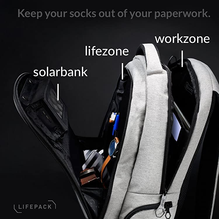 Lifepack Solar Powered and Anti-Theft Backpack-Includes solar bank, a 3-in-1 solar