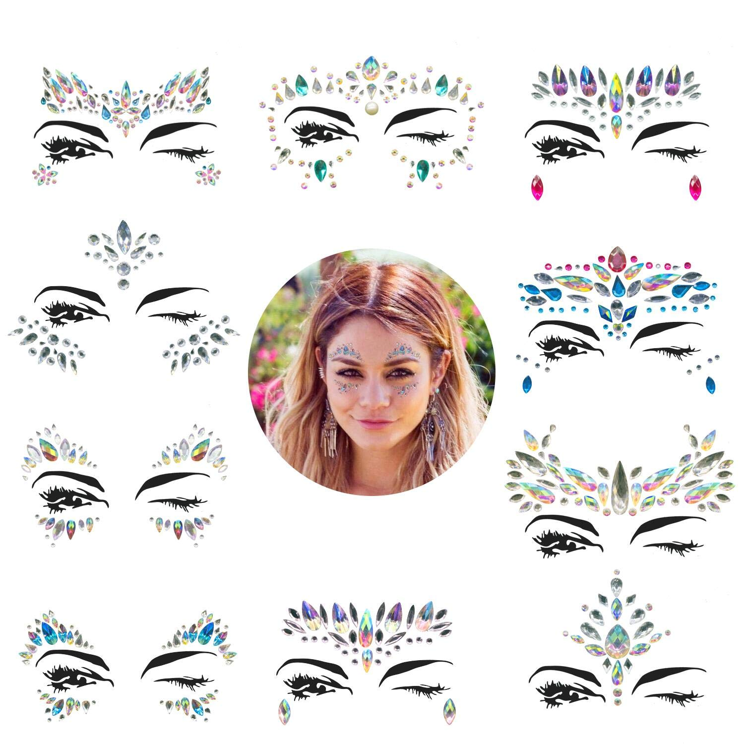 Face Gems, 10 Sets Mermaid Face Jewels Festival Face Gems Rhinestones Rave Eyes Body Bindi Temporary Stickers Crystal Face Stickers Decorations Fit for Festival Party(10 Sets collection)
