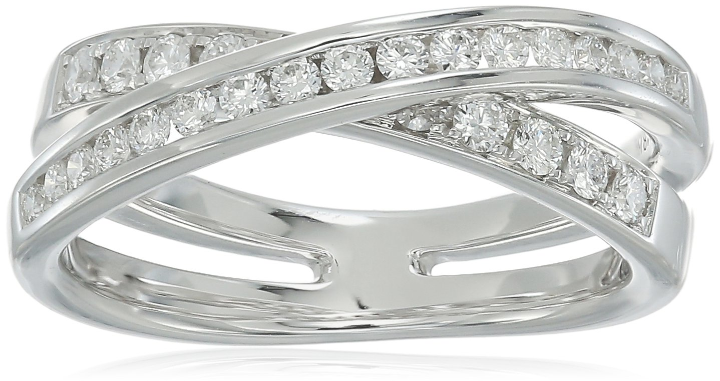 18K White Gold 0.47ctw Diamond Ring (1/2cttw, H-I Color, VS1-VS2 Clarity), Size 6