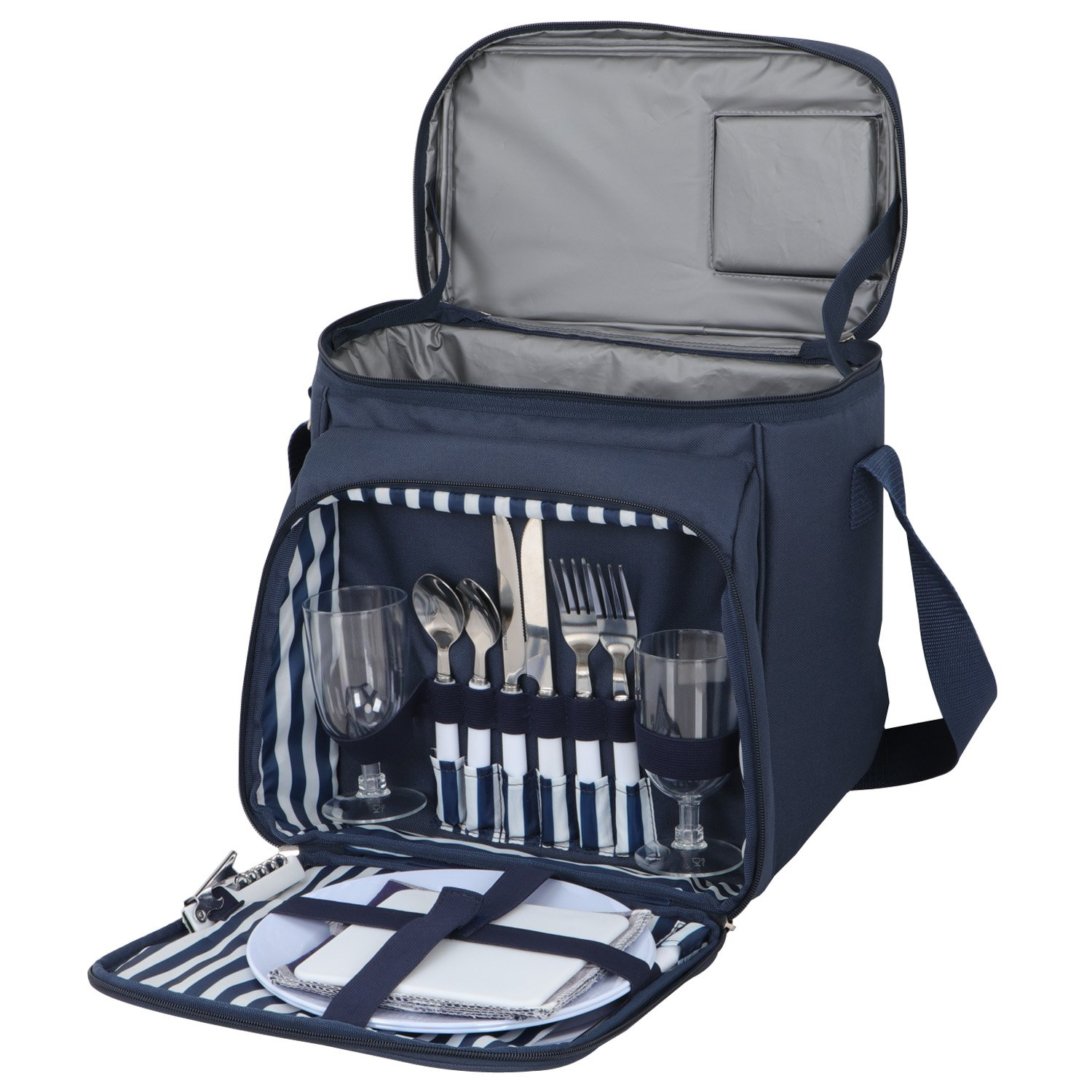 BBBuy Picnic Basket Tote | Picnic Shoulder Bag Set | Stylish All-in-One Portable Picnic Bag for 2 with Complete Cutlery Set