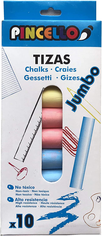 Pincello Tizas de Colores Tamaño Jumbo Ideal para Exteriores Pack 10 Unidades: Amazon.es: Juguetes y juegos
