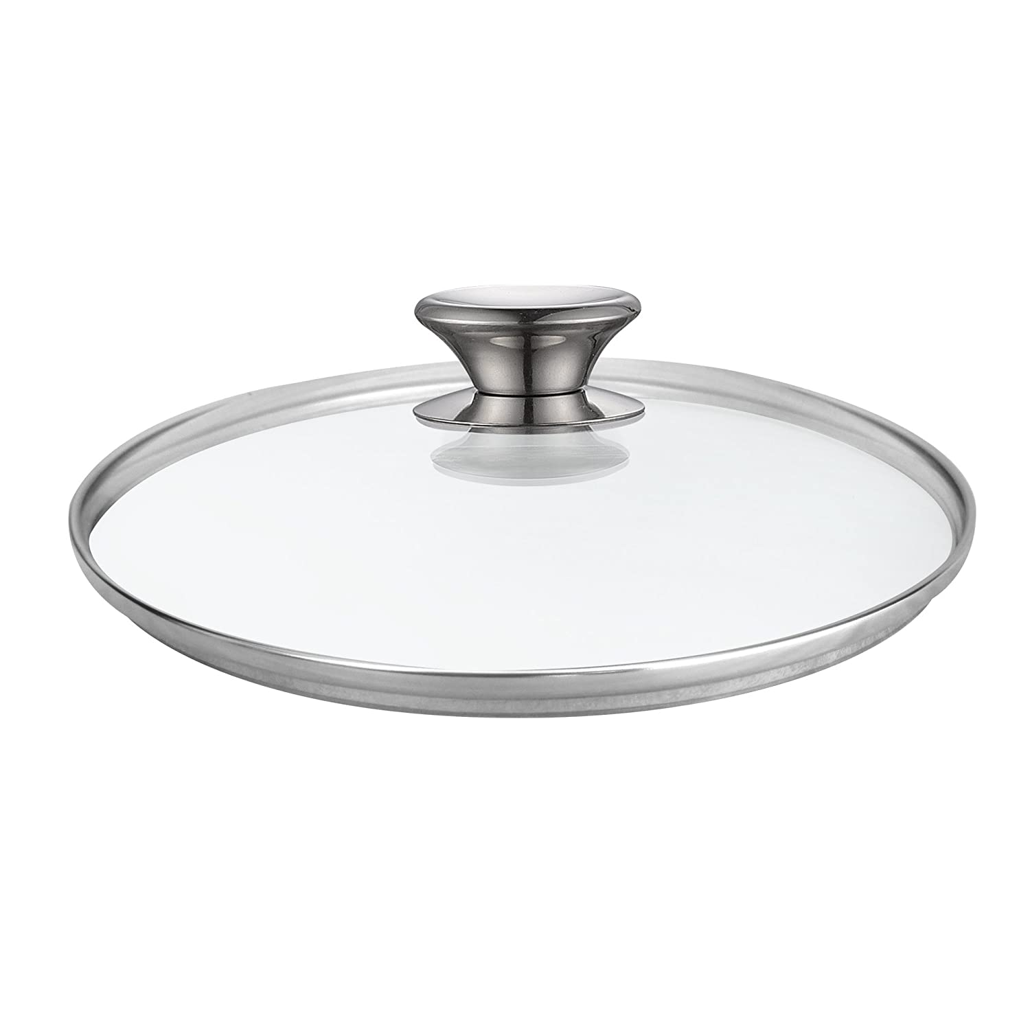 Cook N Home 02592 Tempered Glass Lid Cover with Vent, Metal Handle 8-Inch, 8-inch/20cm, Clear