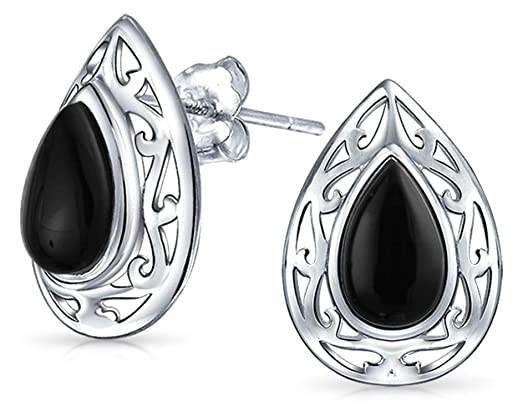 d15e128d2 Image Unavailable. Image not available for. Color: Bling Jewelry Dyed Black  Onyx Teardrop Stud earrings 925 Sterling Silver 15mm