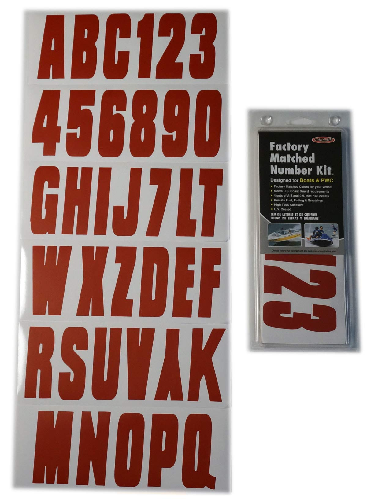 Hardline Products Series 350 Factory Matched 3-Inch Boat & PWC Registration Number Kit, Solid Red