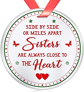 Elegant Chef Christmas Ornament Gift for Sister- Side by Side or Miles Apart Sisters are Always Close to The Heart for BFF Soul Sisters Friends Besties- 3 inch Flat Stainless Steel
