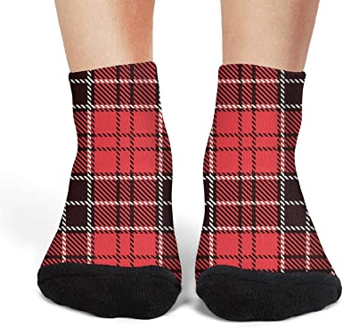 Black British Plaid Red Checkerboard Stylish Low CutSports Non-Slid Ankle Socks for woman