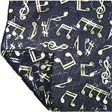 Navy Blue Chiffon Feel Gold Musical Note Print Fashion Neck Scarf Tie Head Wrap