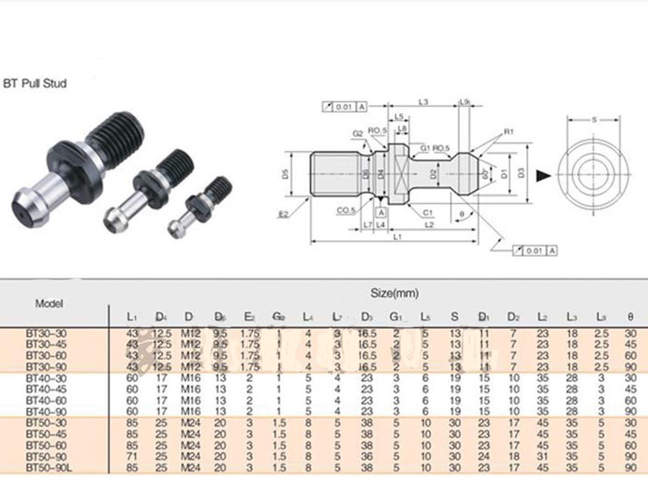 2X BT40 45 Degree M16 Pull Stud Retention Knob CNC Milling Tool Holder Yodaoke