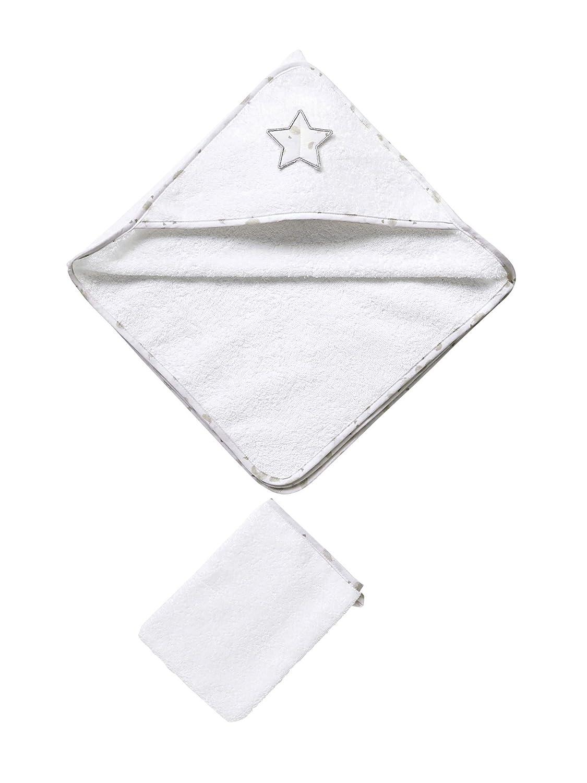VERTBAUDET Cape de bain et gant assorti b/éb/é en /éponge Blanc 70X70