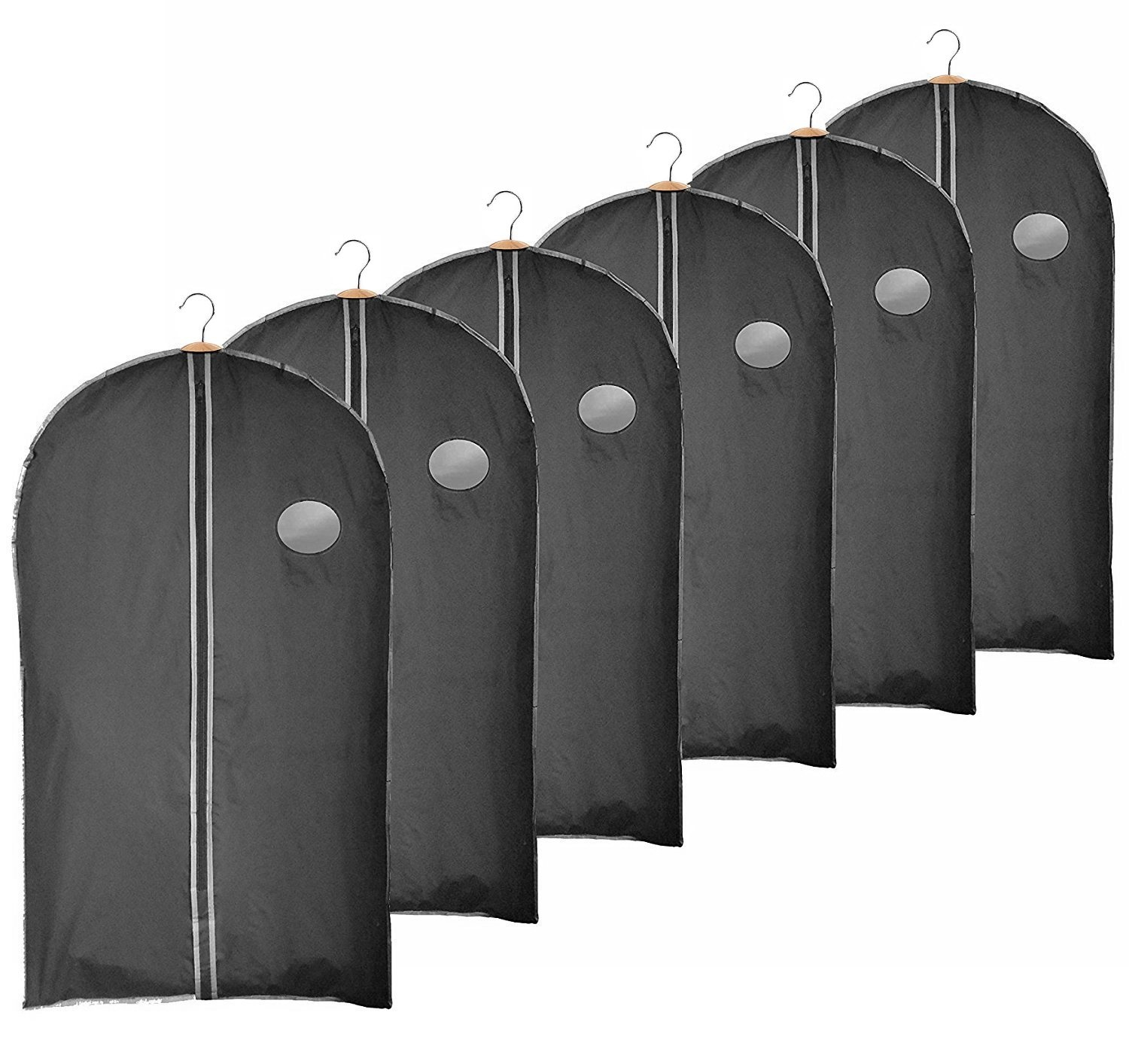 Clay:Roberts Travel and Storage Garment Bag, Black, Pack of 6, Suit, Shirt and Dress Cover, Shower Proof