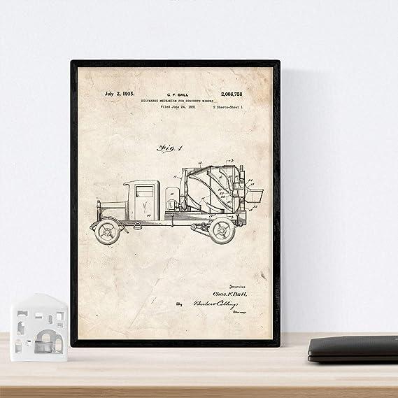 Nacnic Poster con Patente de Camion hormigonera. Lámina con diseño de Patente Antigua en tamaño A3 y con Fondo Vintage: Amazon.es: Hogar