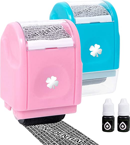 Vantacent89 Roller Stamp Identity Theft Protection Roller Stamp Confidential Address Blocker Anti Prevention 2set(Blue-Pink)