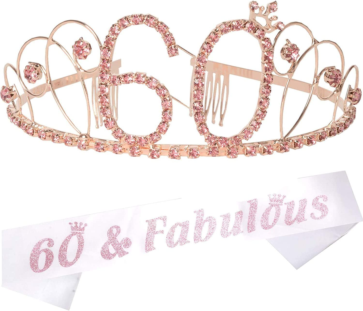 Qpout Glitter Rose Gold 60 Fabulous Sash 60 Birthday Sash-Birthday Gifts Bday Accessories with Diamond Pin Cheers to Sixty Years Birthday Party Favors Party Supplies Decoration for Woman Girls
