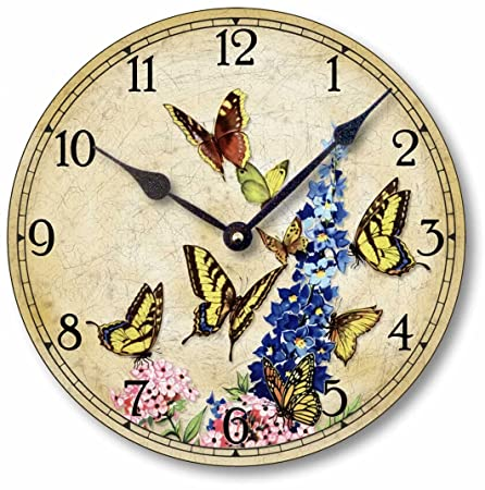 Fairy Freckles Studios Item C9010 Shabby Victorian Cottage Style 10.5 Inch Butterflies Clock