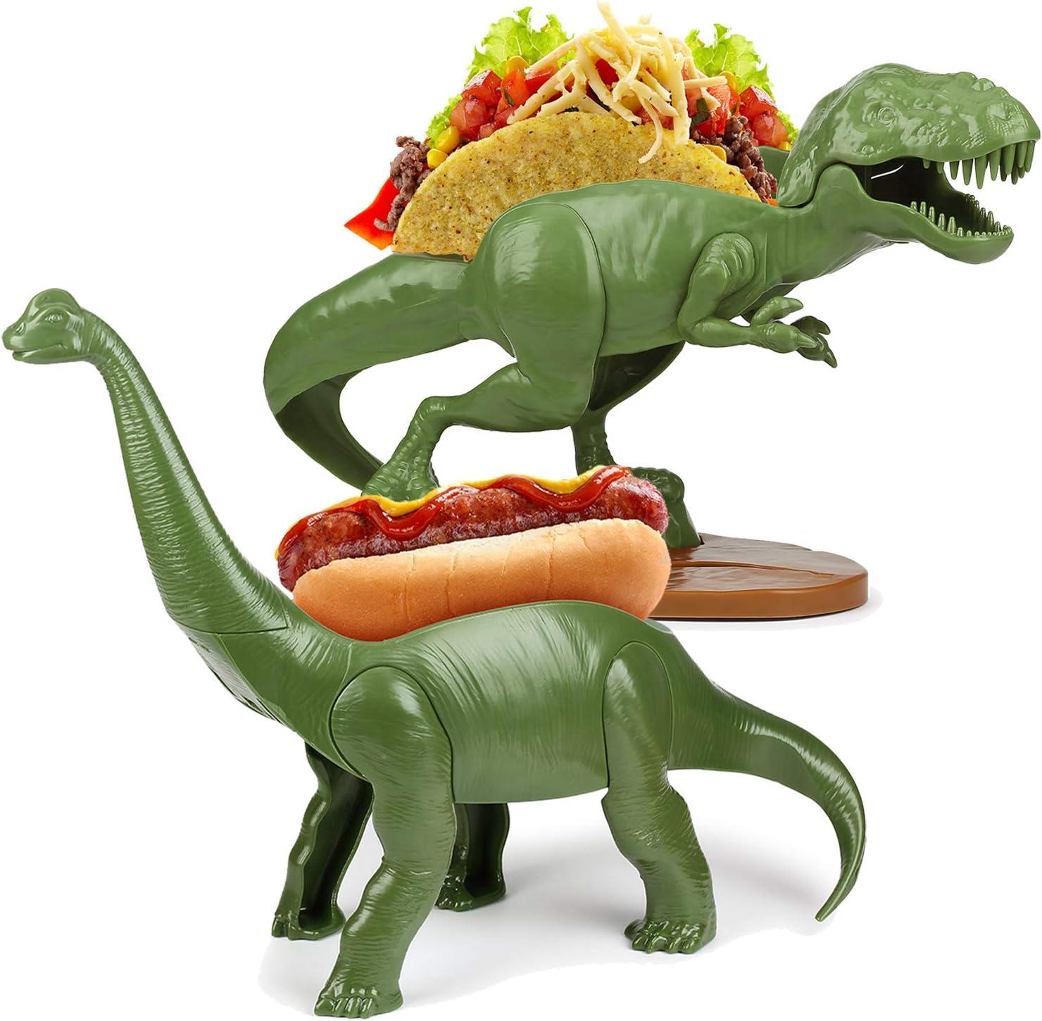T-Rex Dinosaur Taco Stand and Brachiosaurus Hotdog Holder - Funwares Tacosaurus and Weeniesaurus Novelty Food Stands