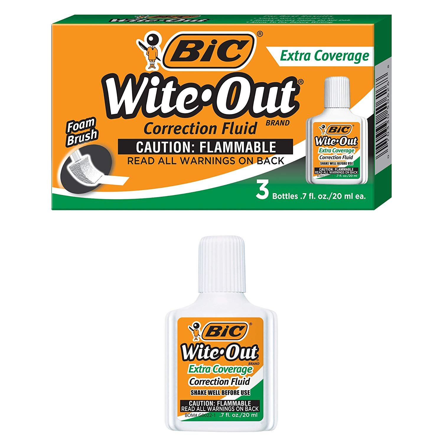 BIC Wite-Out Brand Extra Coverage Correction Fluid, 20 ml, White, 3-Count, 6 Boxes