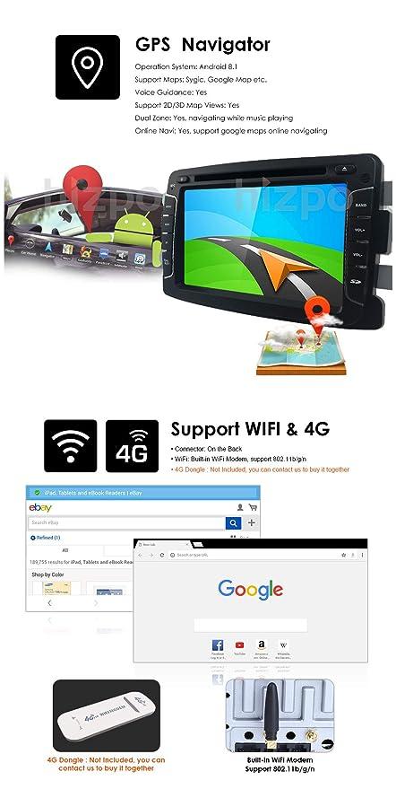 Android 8.1 Quad Core System - Reproductor de DVD para Renault Dokker Dacia Duster Logan Sandero con Autoradio GPS Navegación Radio Estéreo Bluetooth SD USB ...