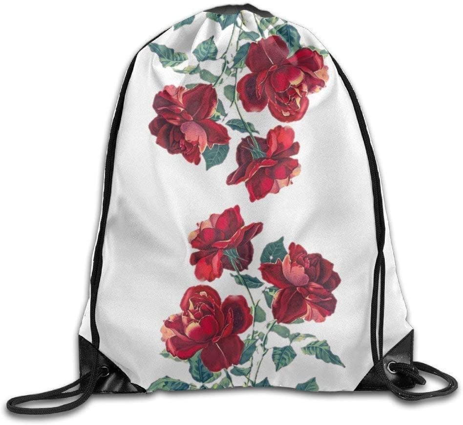 Drawstring Backpack Red Flowers Bags Knapsack For Hiking